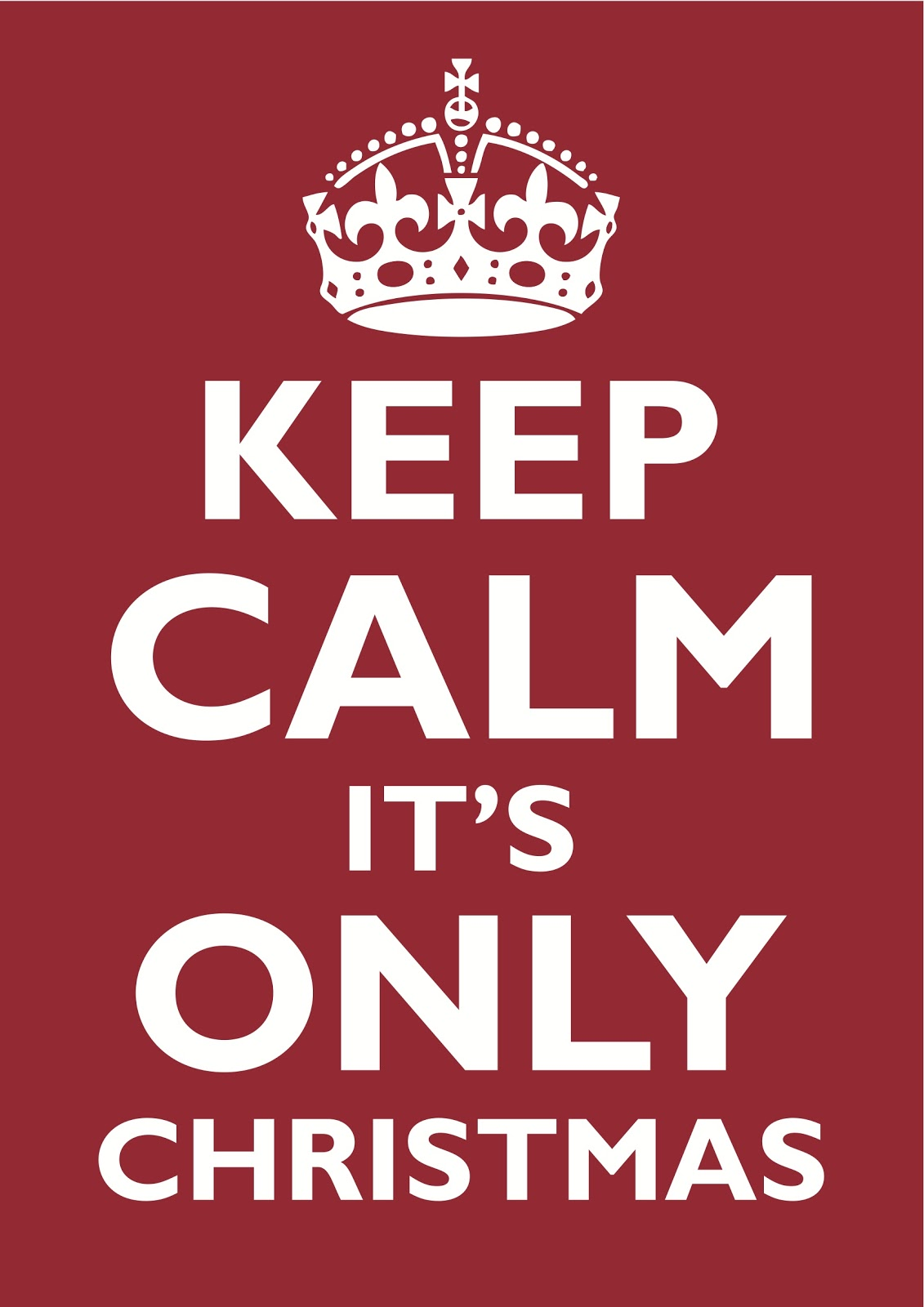 Keep Calm Its Only Christmas Poster
